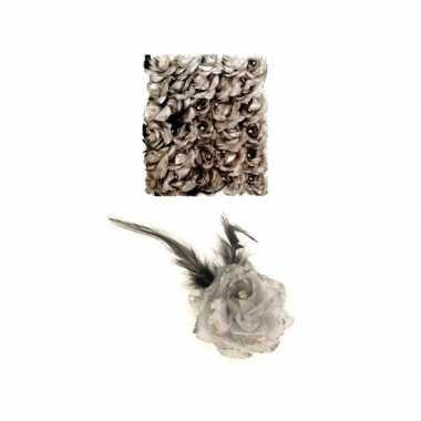 Carnavalskleding haarbloem zilver elastiek helmond