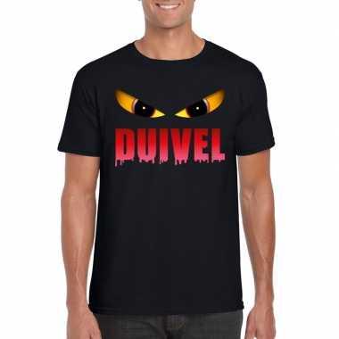 Carnavalskleding halloween duivel ogen t shirt zwart heren helmond