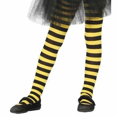 Carnavalskleding/halloween geel/zwarte heksen panties/maillots verkl