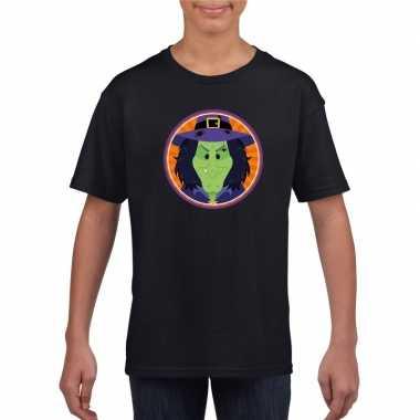 Carnavalskleding halloween heks t shirt zwart kinderen helmond