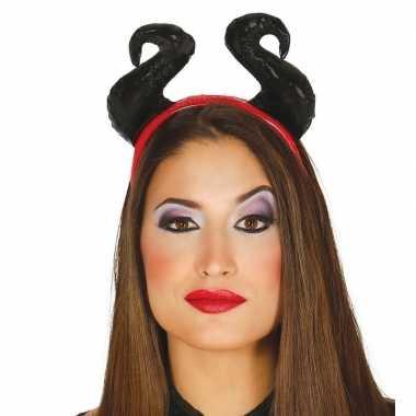 Carnavalskleding halloween hoorns aan diadeem helmond