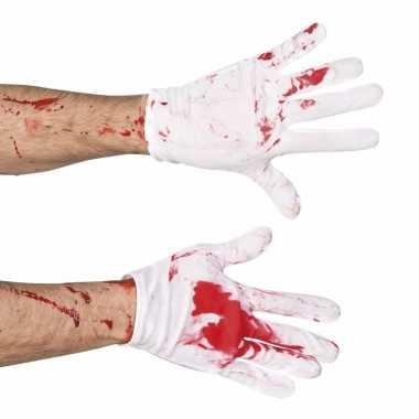 Carnavalskleding halloween korte handschoenen bloed helmond
