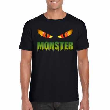 Carnavalskleding halloween monster ogen t shirt zwart heren helmond