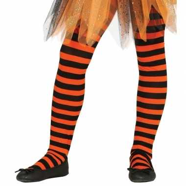 Carnavalskleding/halloween oranje/zwarte heksen panties/maillots ver