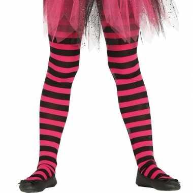 Carnavalskleding/halloween roze/zwarte heksen panties/maillots verkl