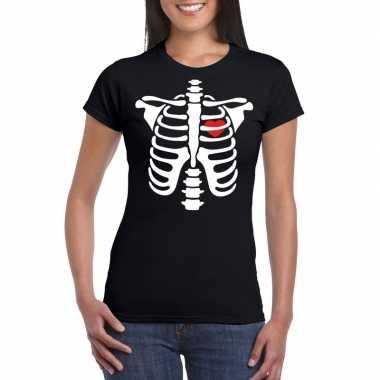 Carnavalskleding halloween skelet t shirt zwart dames helmond