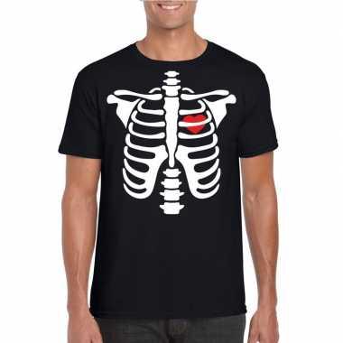 Carnavalskleding halloween skelet t shirt zwart heren helmond