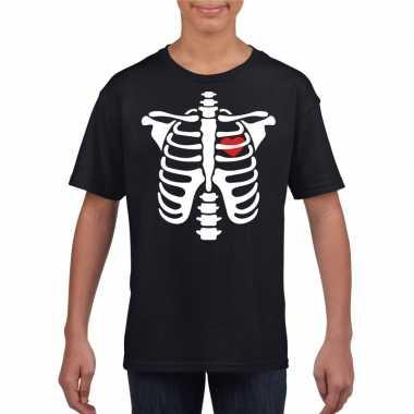 Carnavalskleding halloween skelet t shirt zwart kinderen helmond
