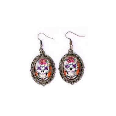 Carnavalskleding halloween sugar skull oorbellen goud type helmond