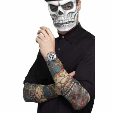 Carnavalskleding halloween tatoeage mouwen day of the dead stuks helm