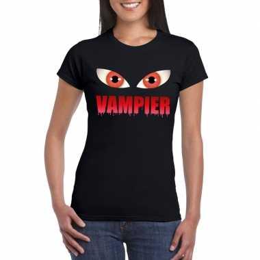 Carnavalskleding halloween vampier ogen t shirt zwart dames helmond