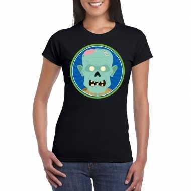 Carnavalskleding halloween zombie t shirt zwart dames helmond