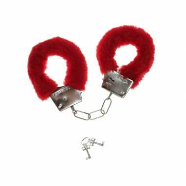 Carnavalskleding  Handboeien rode pluche helmond