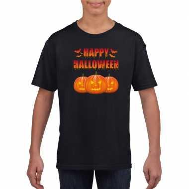 Carnavalskleding happy halloween t shirt zwart kinderen helmond