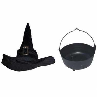Carnavalskleding heksen accessoires heksenhoed heksenketel dames/vol