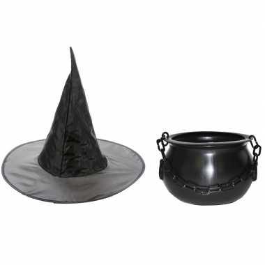 Carnavalskleding heksen accessoires heksenhoed heksenketel meisjes/k