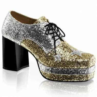 Carnavalskleding  Heren plateau schoenen glittertjes helmond