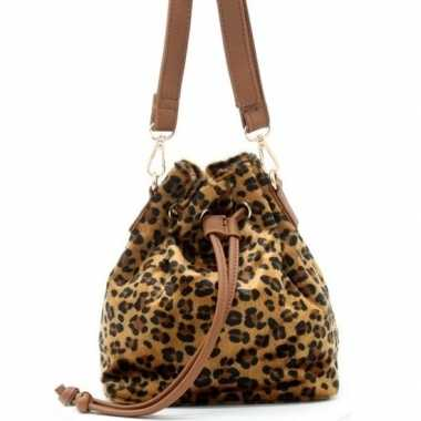 Carnavalskleding hip schoudertasje bruin/zwart luipaardprint/panterpr