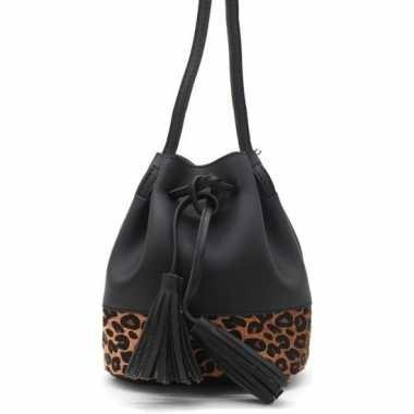 Carnavalskleding hip schoudertasje zwart/bruin luipaardprint/panterpr