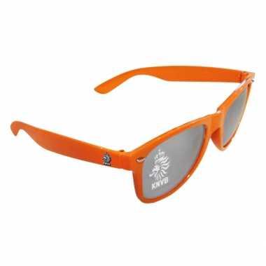 Carnavalskleding hippe oranje knvb zonnebril helmond