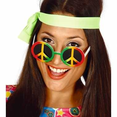 Carnavalskleding hippie/flower power peace verkleed bril helmond