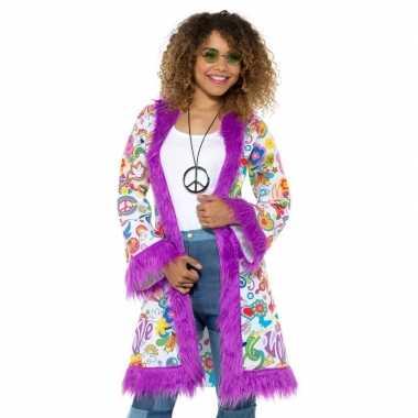 Carnavalskleding hippie groovy pluche jas dames helmond