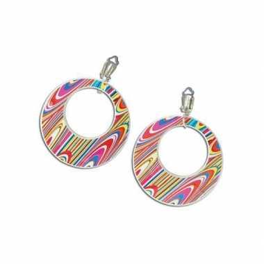 Carnavalskleding hippie oorbellen swirl helmond