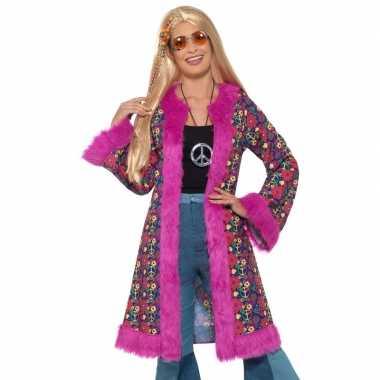 Carnavalskleding hippie peace pluche jas dames helmond