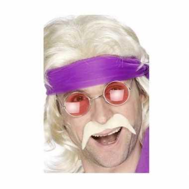 Carnavalskleding hippie verkleedsetje snor bril helmond