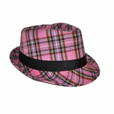 Carnavalskleding hoed schotse ruit roze helmond