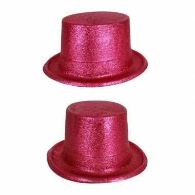 Carnavalskleding hoge hoed fuchsia roze glitters helmond