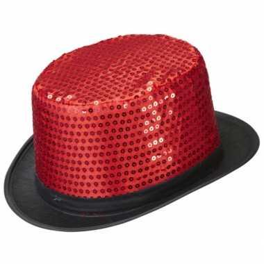 Carnavalskleding hoge hoed rood pailletten helmond
