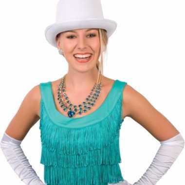 Carnavalskleding hoge hoed wit volwassenen helmond