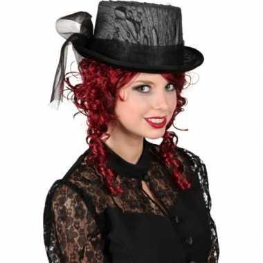 Carnavalskleding hoge hoed zwart kant helmond