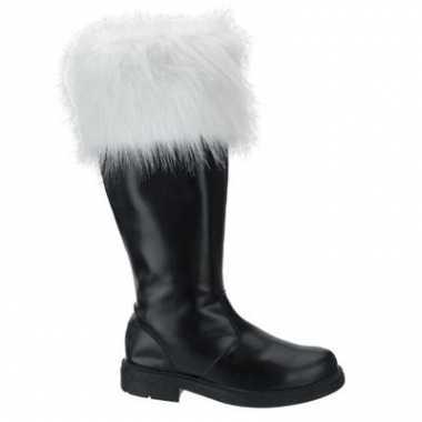 Carnavalskleding hoge kerstman laarzen zwart helmond