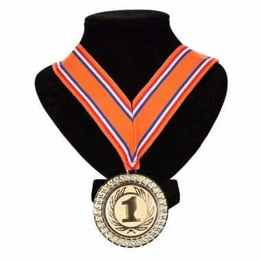 Carnavalskleding holland medaille nr. halslint oranje/rood/wit/blauw