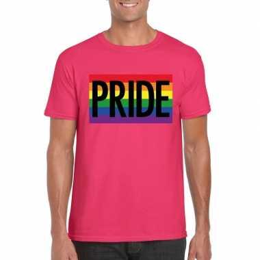 Carnavalskleding homo shirt pride regenboog vlag heren roze helmond