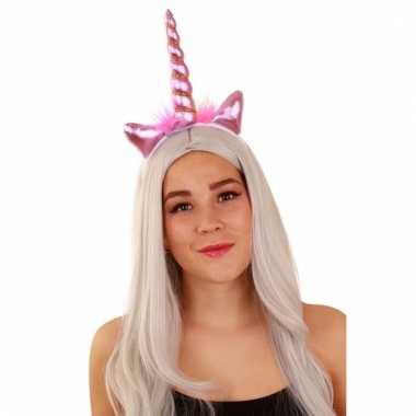 Carnavalskleding hoofband eenhoorn roze dames helmond
