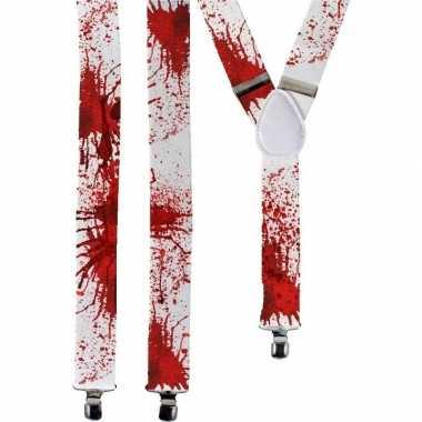 Carnavalskleding horror witte verkleed bretels bloed spetters volwass