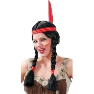 Carnavalskleding indiaan dames pruik tooi helmond