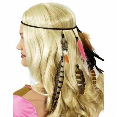 Carnavalskleding indianen hoofdbandje veren helmond