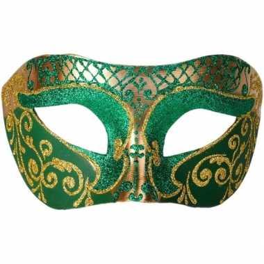 Carnavalskleding italiaans oogmasker glitter groen/goud helmond