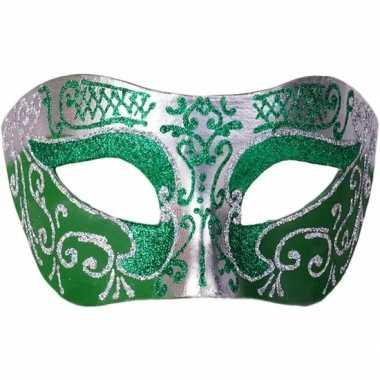 Carnavalskleding italiaans oogmasker glitter groen/zilver helmond