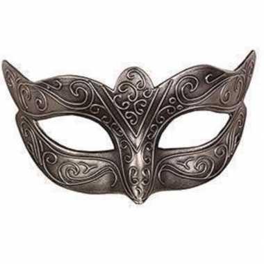 Carnavalskleding italiaans oogmasker zilver helmond