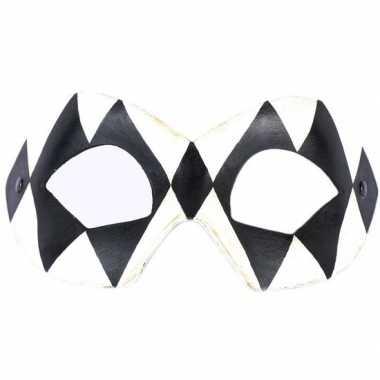 Carnavalskleding italiaanse oogmasker harlekijn zwart/wit helmond