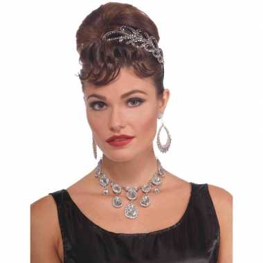 Carnavalskleding jaren ketting verkleedaccessoire diamantjes dames he