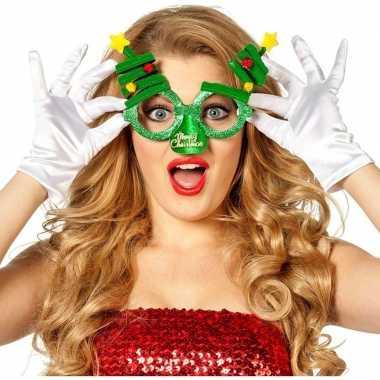 Carnavalskleding kerst accessoires fun bril groen/kerstbomen volwasse