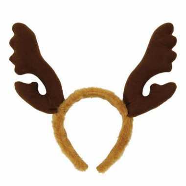 Carnavalskleding kerst haarband bruin gewei helmond