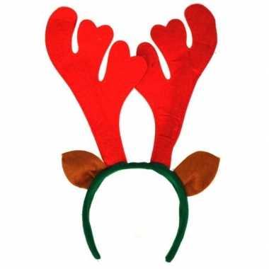 Carnavalskleding kerst haarband rood gewei helmond