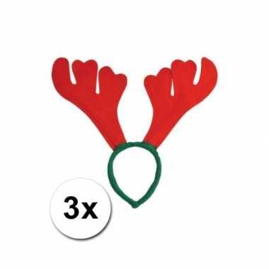 Carnavalskleding kerst haarbanden rood gewei helmond